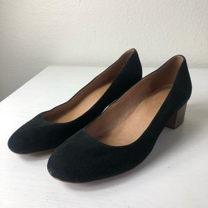 Madewell The Ella Black Suede Pumps Block Heel 8.5